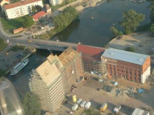 Landesgartenschau Rathenow Mühle im Bau von oben